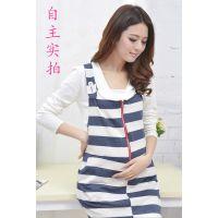 韩国孕妇装可爱背带裙条纹基本百搭连衣裙秋款