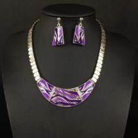 工厂直销 外贸出口首饰欧美复古时尚钻石金属项链配耳环套装xl227