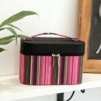 泽家 玄色魅影方形圆角化妆盒 女士化妆包大容量 手提布艺化妆箱