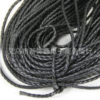 厂家直销 5MM黑色PU皮革编织绳 手链项链皮绳 DIY串珠编织绳