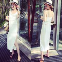 小银子2015夏装新款欧美街拍侧开叉雪纺吊带连衣裙女长裙TA