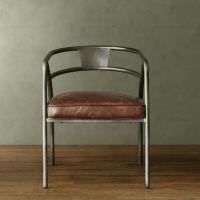 新款美式复古实木餐椅 铁艺软坐垫餐椅休闲椅 咖啡椅办公椅子