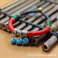 藏式民族蜡线手串 原创复古绕线编手圈 民族风手链