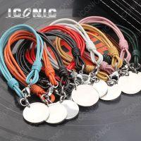 速卖通爆款ICONIC饰品 不锈钢PU五颜六色手圈 钛钢圆形吊坠手链