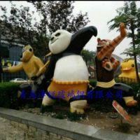 玻璃钢功夫熊猫雕塑,FRP树脂熊猫工艺品