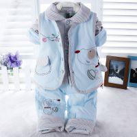 15春季婴童新款 健康快车5012儿童薄棉衣套装 天鹅绒马甲三件套