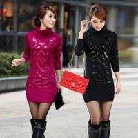 2014秋季新款韩版女装中长款套头针织衫高领亮片打底衫厚 毛衣 女