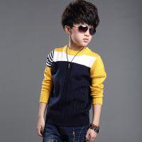童装男童 2015春季新款韩版时尚拼色针织衫 纯棉品质中大童打底衫
