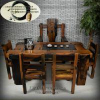 万豪老船木茶台古船木茶桌实木功夫茶艺桌茶几户外阳台家具茶桌椅组合