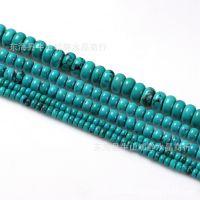 DIY 手工水晶饰品配件 天然绿松石盘珠圆柱隔珠半成品批发
