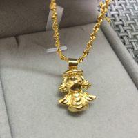 批发欧币天使吊坠项链 欧币女士吊坠仿金项链 仿真黄金实心坠链
