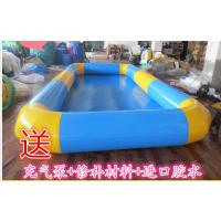 充气夹网布水池河南报价 大型充气PVC游泳池 手摇船配套充气水池乐园
