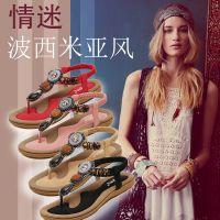 2016新款舒适韩版女凉鞋波西米亚串珠夹趾女鞋学生鞋沙滩鞋平底鞋
