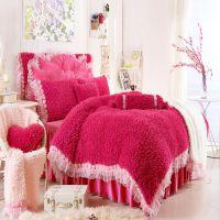 秋冬保暖韩式公主床裙款家纺床上四件套羊绒拼天鹅绒婚庆床品加盟