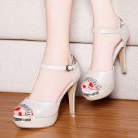 2015夏季新款凉鞋女高跟粗跟鱼嘴凉鞋女式韩版防水台水钻罗马鞋