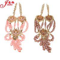 厂家饰品 欧美时尚 心形合金镶钻天然珍珠首饰中长款毛衣链