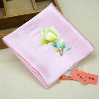 高档丝绸双层真丝手工刺绣手帕玉兰花粉色 中国风高档礼品