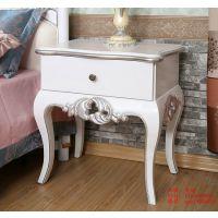 欧式床头柜 双抽屉 新古典实木床头柜 环保简约 卧室床头柜 现货