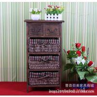 厂家直销美式田园家具简约实木收纳柜床头柜储物柜G140-4烤