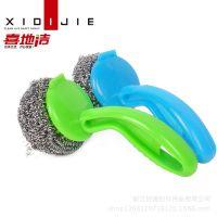 不锈钢钢丝刷子 塑料柄杆洗碗刷锅刷子 可拆卸钢丝球刷 刷子批发