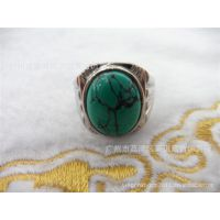 供应不锈钢饰品 时尚复古款式 花纹绿松石戒指 商务节日礼品 批发
