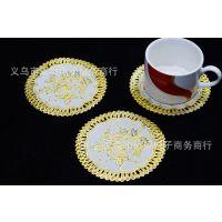 pvc烫金杯垫,家居装饰,餐厅用品12.5*12.5餐垫热销 日用百货批