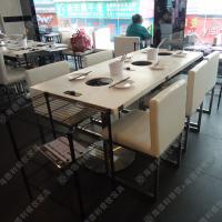 热销天然大理石火锅桌 烤肉火锅一体桌 长方形自助餐厅桌子可定做