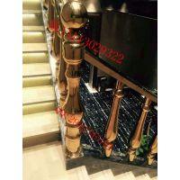 驻马店酒吧KTV楼梯栏杆用不锈钢花瓶葫芦柱 配套玫瑰金扶手面管 不锈钢起步柱