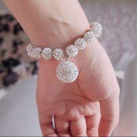 水晶钻石软陶手链配镶满钻进口水钻流行圆球吊坠手链