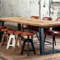 简约乡村复古工业风格设计铁木餐桌做旧LOFT工作台老松木画桌