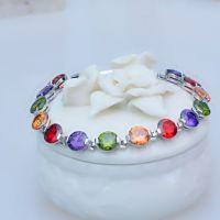 七彩色宝石手链采用AAA级品质锆石女士手链水晶手链生日礼物娇韵