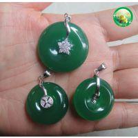 优质天然玉髓祖母绿精美项链坠,银子镶嵌平安扣吊坠精美饰品礼品