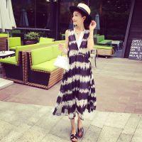 小银子2015夏装新款海边度假假两件飘逸无袖连衣裙长裙Q5432