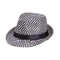 勇发服饰 时尚黑白格子春夏定型草帽 爵士礼帽 外贸出口订做