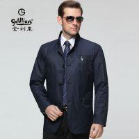 2015金利来男装夹克单排扣正品秋装新款中年男士立领薄外套派克