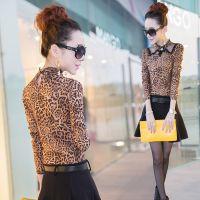 2015春秋季新款时尚百搭半高领豹纹加绒打底衫修身长袖女上衣外穿