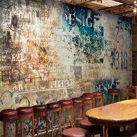 米诺大型壁画工业风做旧水泥墙PVC壁纸怀旧餐厅服装店墙纸网吧壁纸