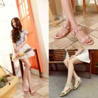 外贸韩版新款学生鞋全真皮女鞋花朵女式凉鞋圆头低跟鞋子厂家直销