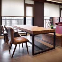 美式乡村北欧茶餐厅桌椅组合实木家具原木复古铁艺餐桌书桌会议桌