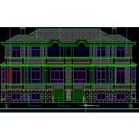 [新农村]2层半400平乡村别墅施工图纸带效果图