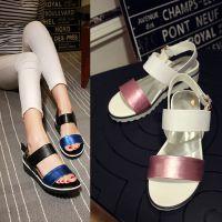真皮露趾凉鞋牛皮鞋拼色低跟坡跟皮带扣女鞋子夏季大小码SPX=C213