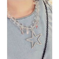 欧美时尚新款亚克力透明珍珠项链镂空五角星夸张夏季锁骨链女饰品