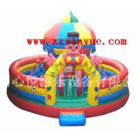 小丑马戏团圆型充气城堡 款充气蹦蹦床 河南儿童气垫床厂家