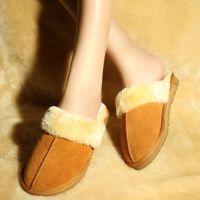 美丽冬季居家室内真皮棉鞋 内里加厚棉拖 牛皮保暖情侣拖鞋 批发