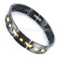 德利鑫 DLXZZ 提供贸易公司尼泊尔多功能IP黑色/钛钢手链 新款热门男女通用珠宝扣定制