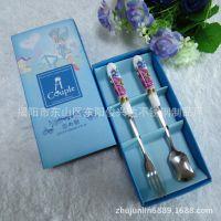 批发情侣创意礼品 赠品 不锈钢餐具 纸盒生日礼品 陶瓷柄勺叉