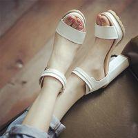 真皮女鞋批发2015春夏新款韩版女式凉鞋搭扣防水台真皮粗跟高跟鞋