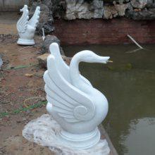 石雕天鹅 汉白玉公园吐水观赏天鹅摆件厂家现货加定做