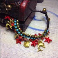 民族风饰品海洋系类之绿松石串珠手链 复古饰品批发 微镶饰品