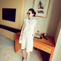 魔衣宝贝 2015夏季新款女韩版纯色雪纺休闲套装背心+中裤两件套